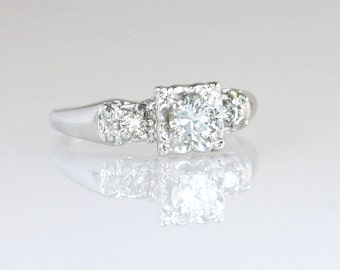 Antique Art Deco .50ct Genuine Diamond 14K White Gold Engagement Ring 3.7g