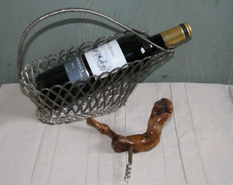 French Vintage Wooden Corkscrew, Vine Wood Corkscrew. Bourgognes J.Mommessin Wine Bottle opener. French home. French bar