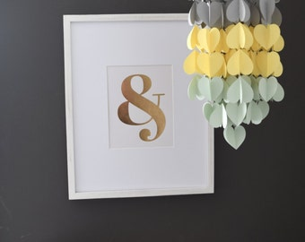 Grey, Yellow & Mint Upside Down Ombre Heart Paper Mobile Chandelier