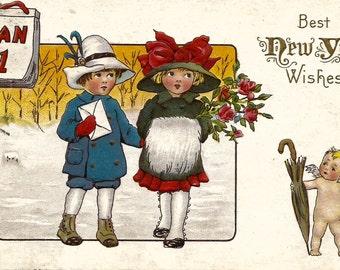1921 Vintage Digital Postcard New Years Clip Art 300dpi Download Image
