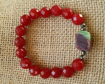 ruby, emerald, pyrite, ruby beads, stretch, bracelet, natural stones, handmade, rough stone
