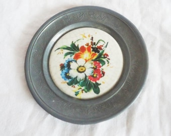 Antique Pewter Plate Dish,Old German pewter plate, Decorative wall hanging plate,Plate with Ceramic Flowers, Rustic,Collectible pewter plate