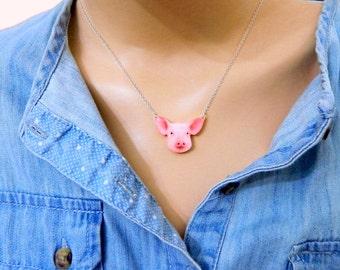 pig necklace Cute animal necklace Animal Necklace