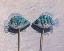 2 Blue Fish Cake Toppers Glitter Fish Cake Decorations Mermaid Wedding Theme Ocean Party Theme Topper Nautical Cake Toppers Nr 3