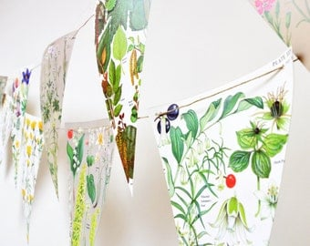 Large floral vintage botanical illustration bunting for weddings and parties - double sided -