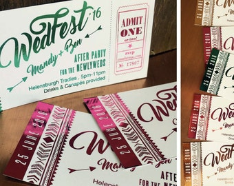 Boho WedFest After Wedding Party festival-themed Custom foiled ticket invites