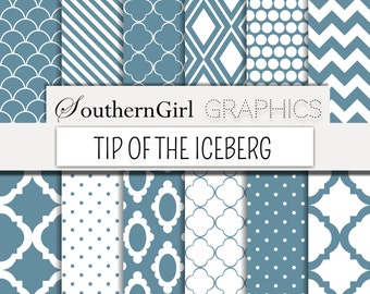 """SALE! Slate Blue Digital Paper: """"TIP of the iceberg"""" with blue, scalloped, striped, chevron, dot, moroccan designs"""