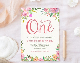Girl First Birthday Invitation, ONE invitation, Floral Birthday Invitation, First Birthday Party Invite, Bohemian invitation, Boho, Digital