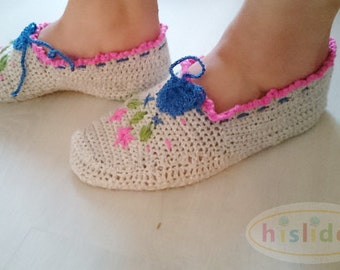 Grey Women's Slippers, Grey Crochet Slippers, Pink Blue Green Embroidered Slippers, Grey House Shoes, Trimmed Slippers, Womens Accessories