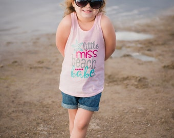 Little Miss Beach Babe Pink Racerback Tank Top Shirt - 0-24 months - 2T-14 Girls
