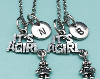 Best friend necklace, it's a girl necklace, baby necklace, bff necklace, sister, friendship jewelry, personalized, initial, monogram