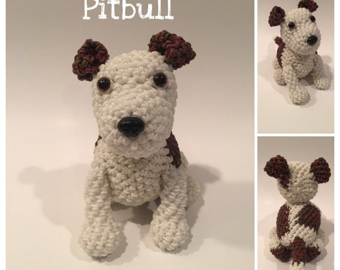 Pitbull Rubber Band Figure, Rainbow Loom Loomigurumi, Rainbow Loom Dog