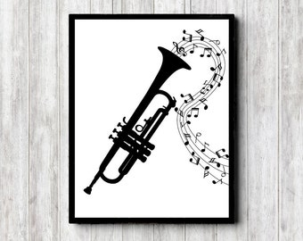 Music Art Poster - Trumpet Printable Wall Art - Music Notes Print - Gift for Musicians - Office Wall Art - Monochrome Wall Decor -Instrument