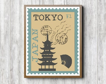 Tokyo /Japan Postage Stamp Printable Wall Art - Japanese Temple Print - Japanese Fan - Office Wall Decor - Beige Art - 8 x 10 - 16 x 20