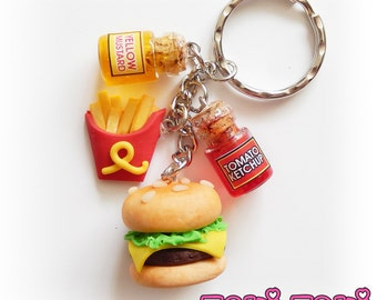Food Keychain, CheeseBurger & Fries, Burger Keychain, Fast Food, Junk Food, Miniature Food, Polymer Clay Food, Clay Burger Keyring, Foodie