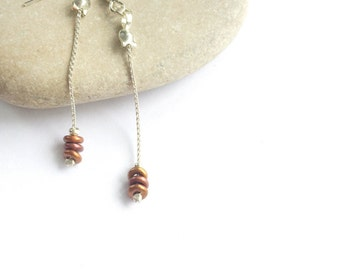 Copper Beaded Earrings  - Long Chain Earrings - Long Dangle Earrings - Simple Earrings - Beaded Dangle Earrings - Dangling Earrings