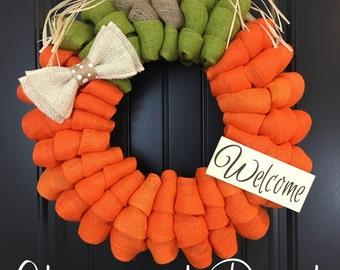Pumpkin Burlap Wreath - Welcome Door Wreath -  Rustic Country Shabby Chic Thanksgiving Fall Autumn Harvest Halloween