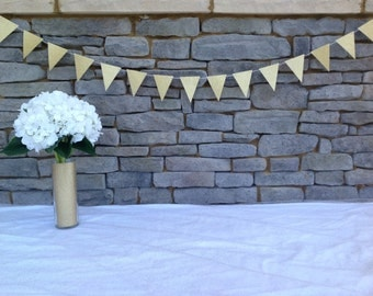 GOLD BUNTING BANNER, Gold Glitter Bunting Banner, Gold Bunting Garland, Bridal Shower Bunting, Baby Shower Banner, Baby Shower Bunting