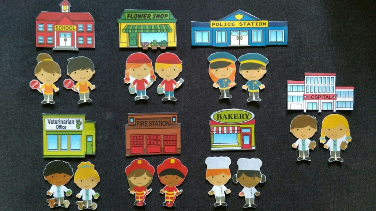 community helpers and matching work place buildings felt board