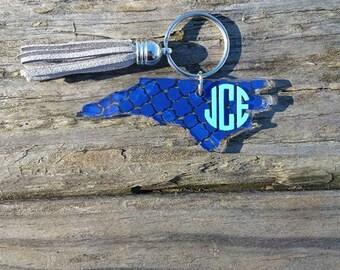 North Carolina State Monogramed Key Chain