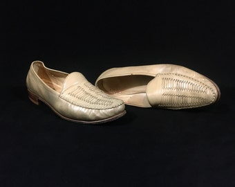 1960's Men's Shoes | Bostonian Tan Leather Woven Loafers | Size: 10 1/2 M