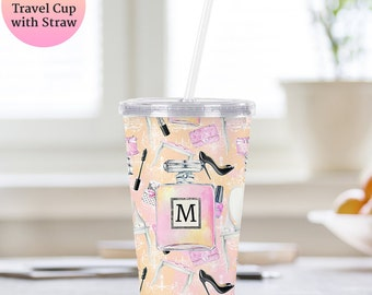 Monogram Cup With Lid and Straw - Personalized Acrylic Tumbler - BPA FREE - Make Up, Perfume, Fashion Design - Customized Travel Cup