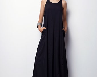 Black Maxi Dress, Summer Maxi Dress, Long Summer Dress - Aliz