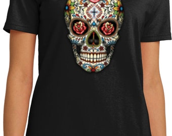 Ladies Skull Shirt Sugar Skull with Roses Organic Tee T-Shirt WS-16553-LPC150ORG