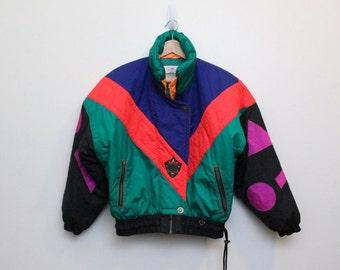 90's Neon Ski Coat / Vintage Neon Ski Suit / Obermeyer Vintage Ski Jacket Size M