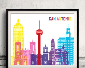 San Antonio pop art skyline - Fine Art Print Glicee Poster Gift Illustration Pop Art Colorful Landmarks - SKU 1987
