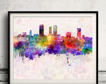 Nagoya skyline in watercolor background - Poster Digital Wall art Illustration Print Art Decorative - SKU 1339