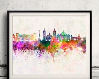 Mexico City skyline in watercolor background - Poster Digital Wall art Illustration Print Art Decorative - SKU 1413