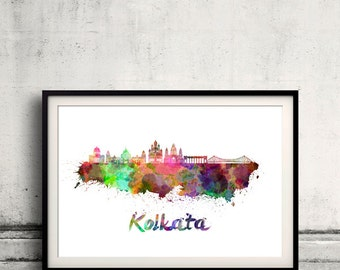 Kolkata skyline in watercolor over white background with name of city - Poster Wall art Illustration Print - SKU 1611