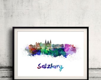Salzburg skyline in watercolor over white background with name of city - Poster Wall art Illustration Print - SKU 1617