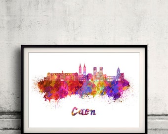 Caen skyline in watercolor over white background with name of city - Poster Wall art Illustration Print - SKU 1874
