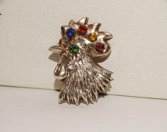 Vintage Sterling Signed Multicolor Stone Rooster Brooch