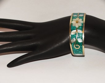 Vintage Inlaid Turquoise / Mother of Pearl Cuff Bracelet.
