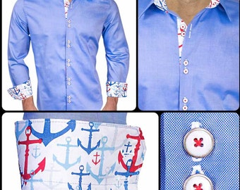 Blue with Anchors Designer Dress Shirt - Made in USA