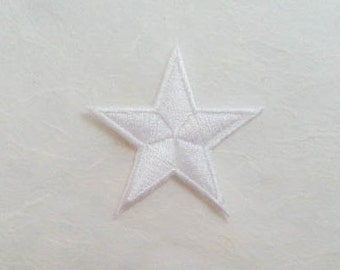 White Star Iron on Patch-White Star Applique Embroidered Iron on Patch -Size 4.5x4.2 cm