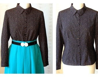 Vintage button down collared blouse polkadot blouse EU 38