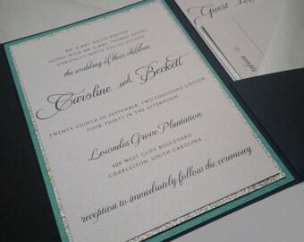 Wedding Invitation Suite, Silver Wedding, Glitter Wedding Invitation, Turquoise Silver Script Wedding, Silver Glitter