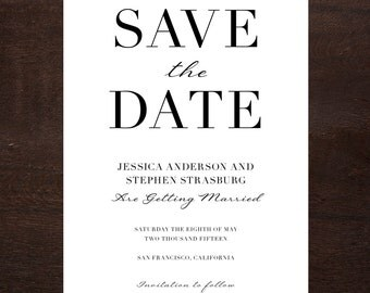 Elegant Save the Date, Printable Digital File