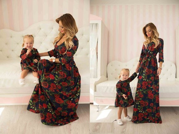 Red rose matching floral mother and me dresses family