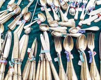 "Paris Photography, French Market, Kitchen Art, Utensils, Green Decor, Flea Market, Spoon, Fork, Knife, Kitchen Print, ""Utensils at the Flea"""