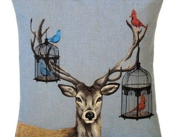 stag pillow cover - stag lover gift - belgian tapestry cushion cover - 18x18 pillow cover - bird pillow - blue pillow cover - PC-5425
