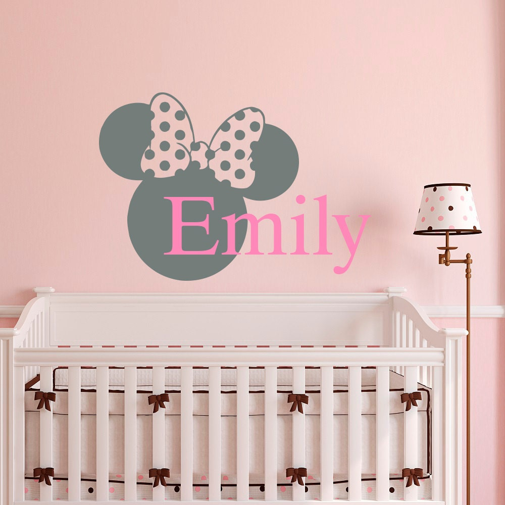Personalized Bedroom Wall Decor : Name wall decal minnie mouse ears personalized custom baby