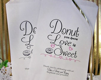 Personalized Wedding Donut Bags - Wedding Doughnut Bags - Wedding Donut Bar Buffet - Love is Sweet Donut D03-P122