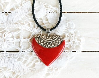 Red heart necklace, Red heart pendant, Ceramic jewelry, Heart jewelry, Handmade heart, Handmade jewellery, Clay necklace, Gift for mom