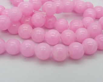 48A 50 8 mm pink candy jade beads with a 1 mm hole