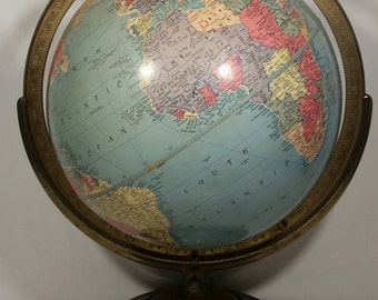 Vintage Late 50s' Replogle 12 Inch Reference Globe with Faux Wood Base
